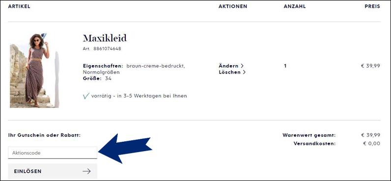 Heine Gutschein nach der Anmeldung einlösen