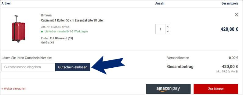 Koffer24 Gutschein im Warenkorb einlösen